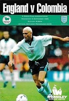 1995 England v Colombia Football Programme